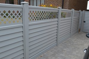 grey fence with trellis