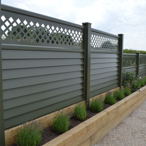 installed metal fencing - green